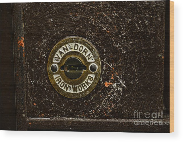 Paul Ward Wood Print featuring the photograph Jail Cell Door Lock Close Up by Paul Ward