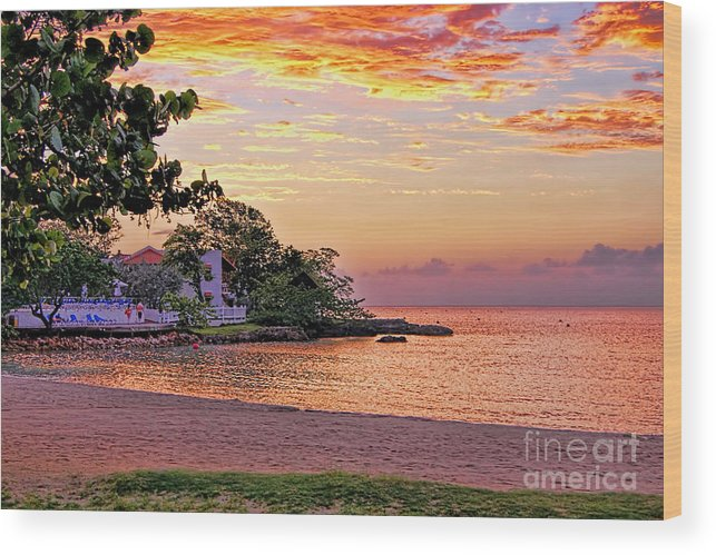 Sunset Seascape Wood Print featuring the photograph Jamaican Sunset by Olga Hamilton