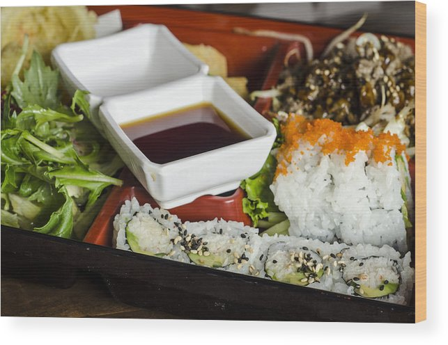 Food Wood Print featuring the photograph Japanese Food by Irene Theriau