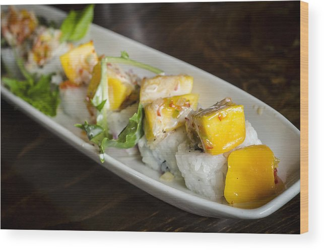 Japanese Wood Print featuring the photograph Japanese Sushi Rolls With Mango by Irene Theriau