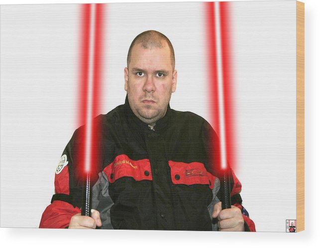 Jedi Master Randall M Rueff And Lightsaber Thirty Five Wood Print featuring the photograph Jedi Master Randall M Rueff And Lightsaber Thirty Five by Randall M Rueff