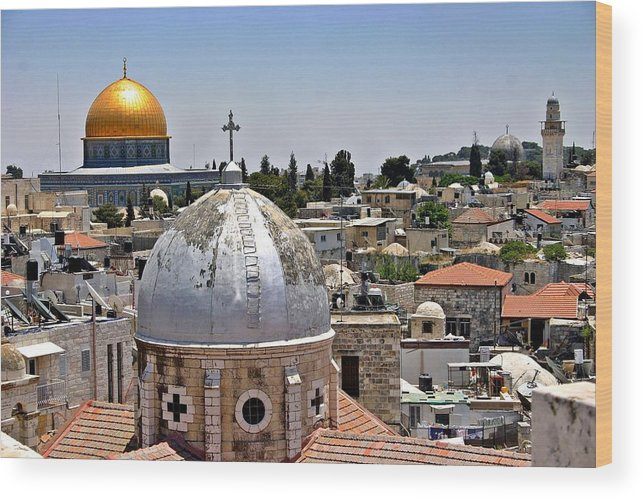 Israel Wood Print featuring the photograph Jerusalem Old City Domes by Henry Kowalski