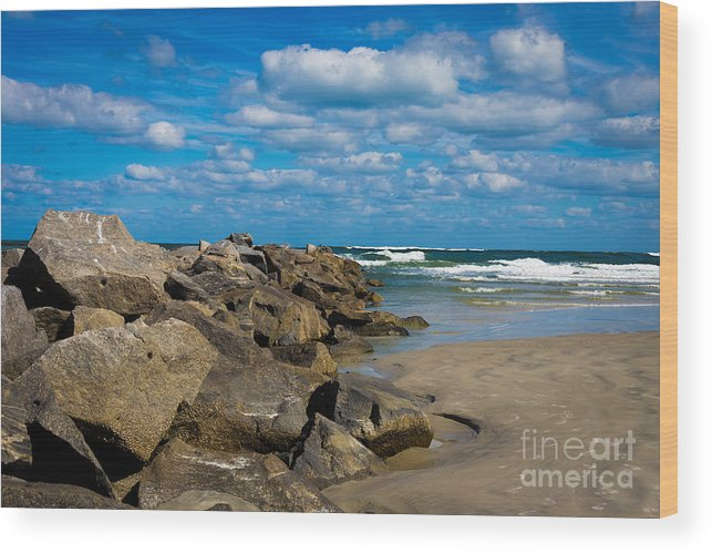 Beach Wood Print featuring the photograph Jetty by Mary Giordano