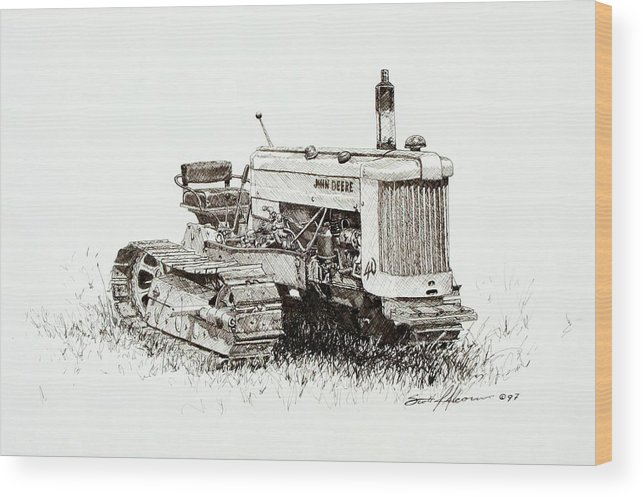 Tractor Wood Print featuring the drawing John Deere Crawler by Scott Alcorn