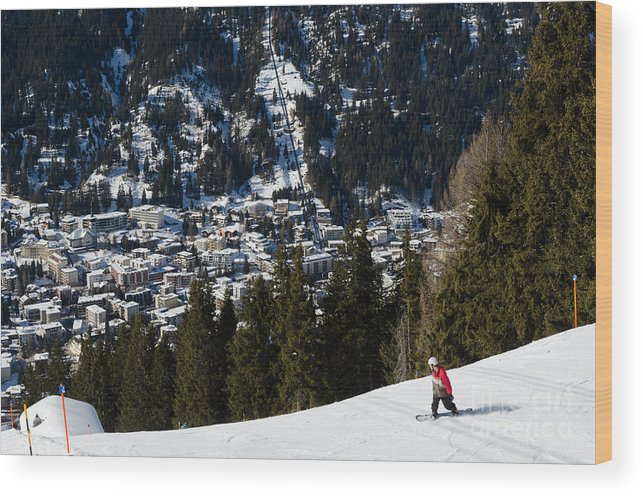 Davos Wood Print featuring the photograph Jschalp Landscape Davos Town And Snowboarder by Andy Smy