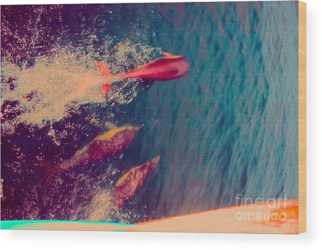 Jump Wood Print featuring the photograph Jumping Dolphins by Loretta Jean Photography