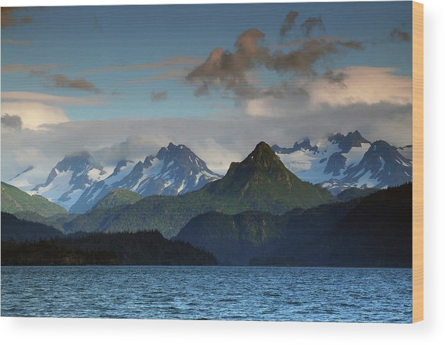 Alaska Wood Print featuring the photograph Kenai Mountains And Kachemak Bay by Michel Hersen