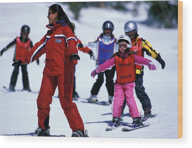 Adorable Wood Print featuring the photograph Kids Having Fun At Ski School by Corey Rich