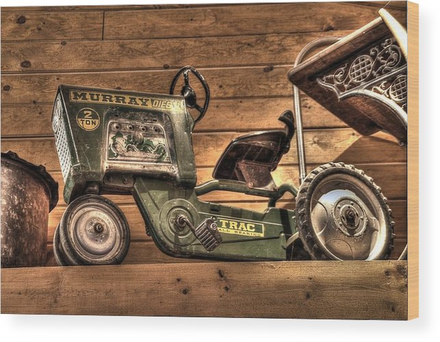 Wood Print featuring the photograph Kids Toy Pedal Tractor On Shelf by Dan Quam