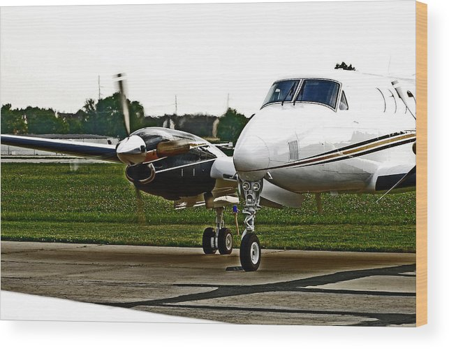 Wines And Wings2011 Wood Print featuring the photograph King Air 200 by Lamyl Hammoudi