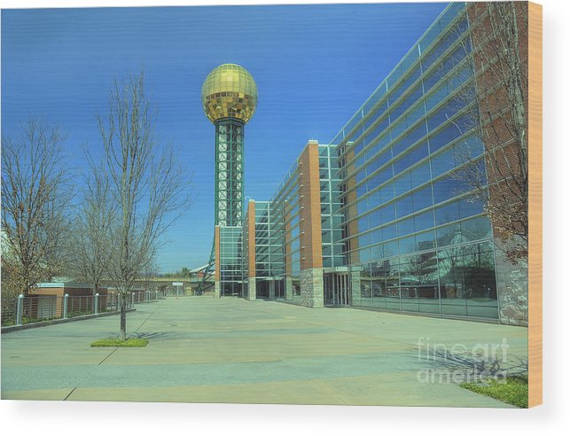 Travel Wood Print featuring the photograph Knoxville Tn Sunsphere Hdr by Ules Barnwell