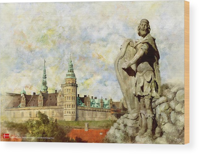 Denmark Art Wood Print featuring the painting Kronborg Castle by Catf