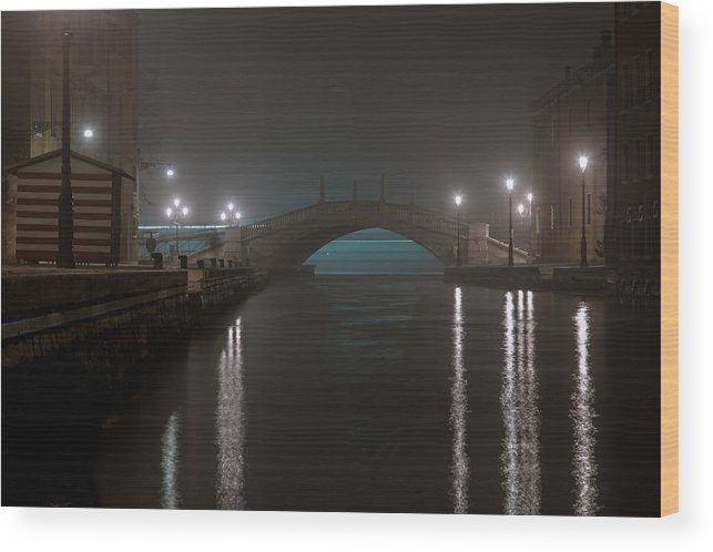 Venice By Night Photograph Wood Print featuring the photograph Lagoon's Light Show by Bechi Nicola