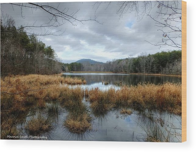 Lanscape Wood Print featuring the photograph Lake Crowders Mountain by Maurice Smith