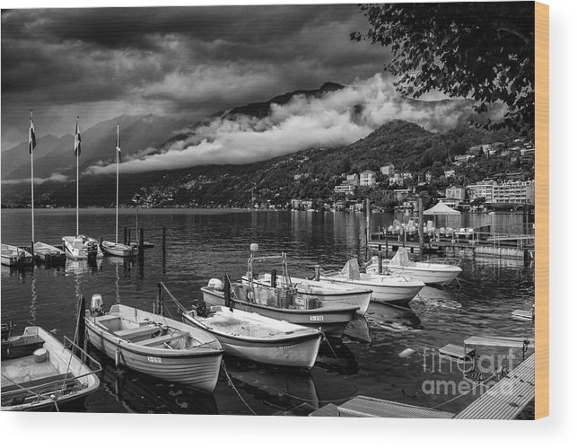 Building Wood Print featuring the photograph Lake Maggiore Ascona Bw by Timothy Hacker