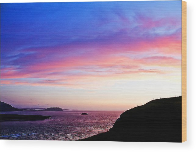 Landscape Wood Print featuring the painting Landscape - Sunset by Alex Art and Photo