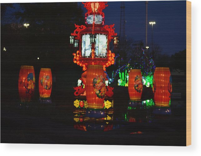 Chinese Lantern Festival Wood Print featuring the photograph Lanterns In The Pond by Jim Martin