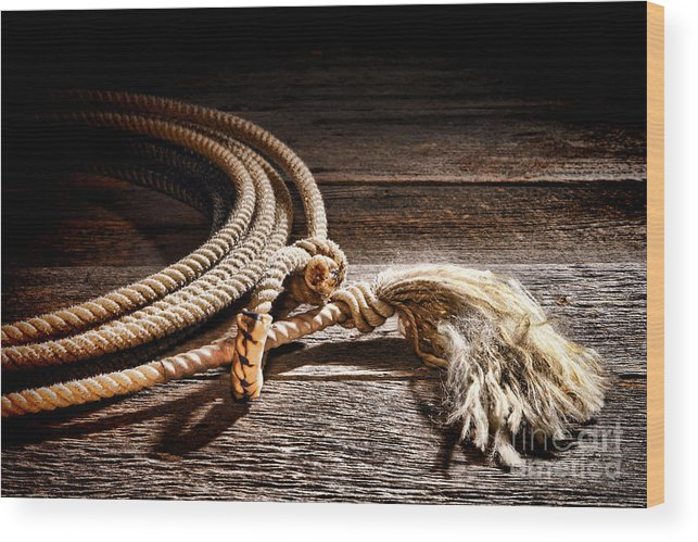 Rodeo Wood Print featuring the photograph Lasso by Olivier Le Queinec