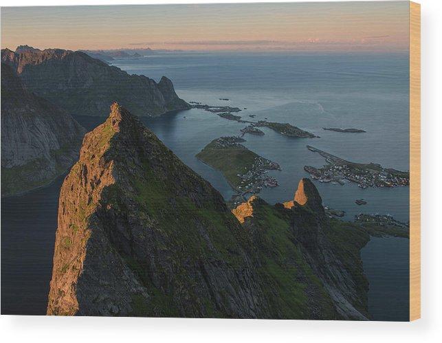 Village Wood Print featuring the photograph Last Light Illuminates Mountain Ridge by Cody Duncan