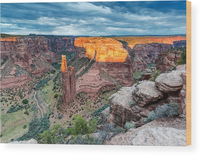 Spider Woman Rock Wood Print featuring the photograph Last Light On Spider Rock Canyon De Chelly Navajo Nation Chinle Arizona by Silvio Ligutti
