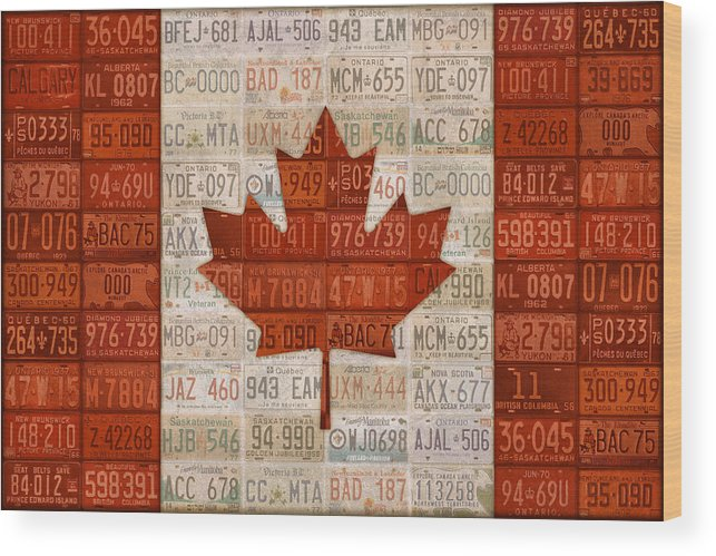 License Plate Wood Print featuring the mixed media License Plate Art Flag Of Canada by Design Turnpike