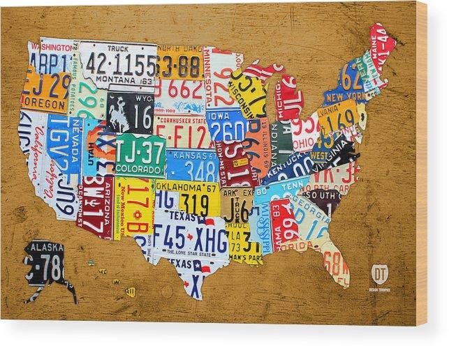 License Plate Map Of The United States On Burnt Orange Slab Wood - Us-map-license-plates