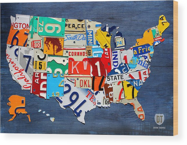License Plate State Map.License Plate Map Of The United States Small On Blue Wood Print By