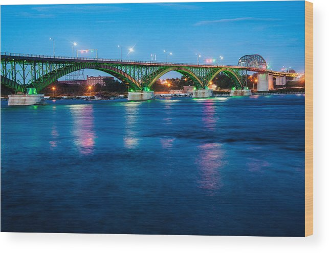 Peace Bridge Wood Print featuring the photograph Light Up The Peace Bridge by Rosemary Legge