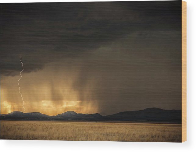 Beauty In Nature Wood Print featuring the photograph Lightning Bolt Striking Thr Ground by Tim Martin
