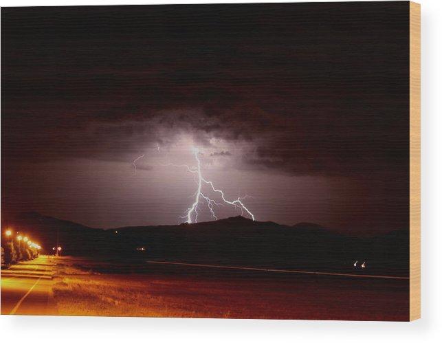 Lightning Wood Print featuring the photograph Lightning Mountain by Trent Mallett