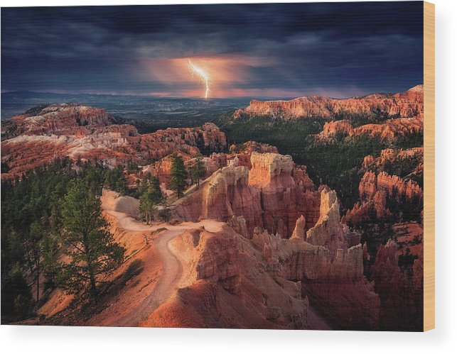 Landscape Wood Print featuring the photograph Lightning Over Bryce Canyon by Stefan Mitterwallner