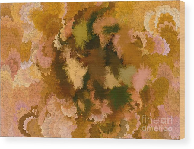Flowers Wood Print featuring the digital art Lilac Of The Valley Brown Light Pink by Holley Jacobs