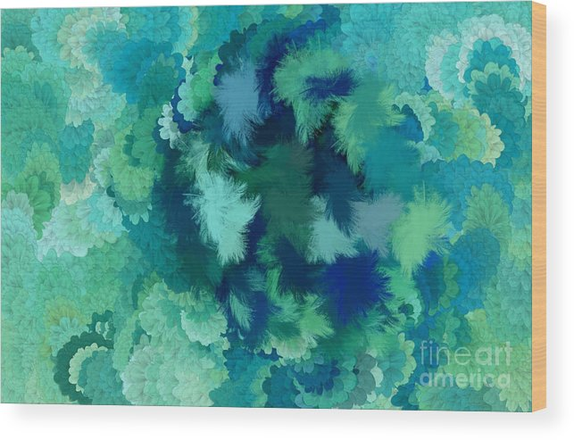 Flowers Wood Print featuring the digital art Lilac Of The Valley Teal Green by Holley Jacobs