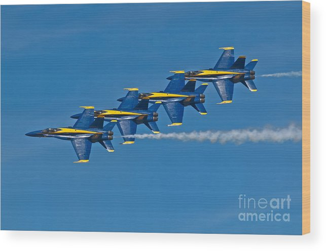 Blue Angels Wood Print featuring the photograph Line Astern- Blue Angels by Steve Rowland