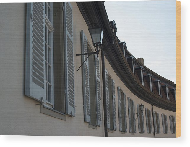 Architecture Wood Print featuring the photograph Line Of Shuttered Windows by Frank Gaertner