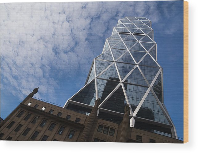 Lines Wood Print featuring the photograph Lines Triangles And Cloud Puffs - Hearst Tower In New York City by Georgia Mizuleva