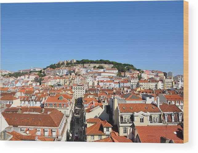 Lisbon Wood Print featuring the photograph Lisbon Skyline by Laura Lowrey