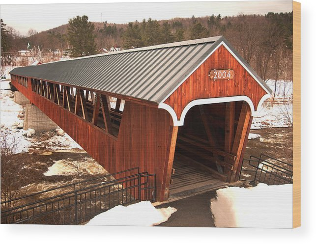 littleton Covered Bridge Wood Print featuring the photograph Littleton Covered Bridge by Paul Mangold