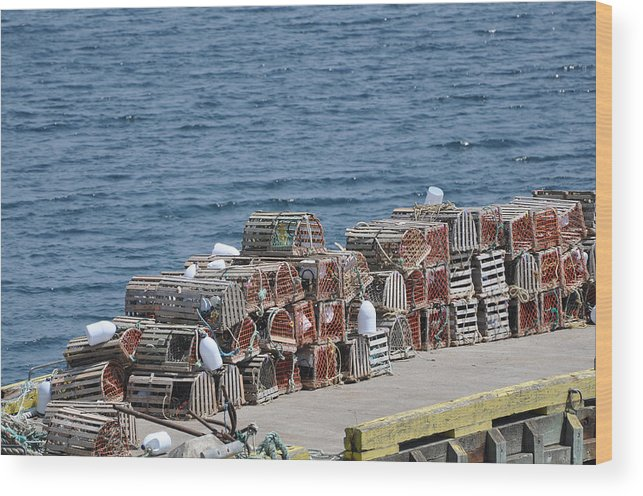 Wooden Lobster Pots Wood Print featuring the photograph Lobster Pots by Colleen English