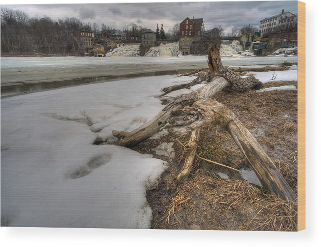 Creek Wood Print featuring the photograph Log On Otter Creek by Mike Horvath