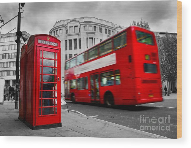London Wood Print featuring the photograph London Uk Red Phone Booth And Red Bus In Motion by Michal Bednarek