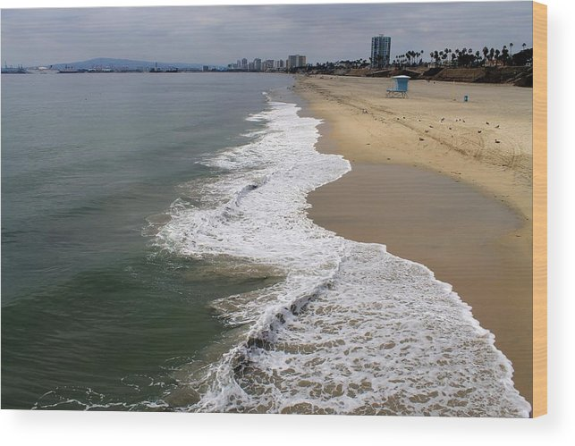 Ocean Wood Print featuring the photograph Long Beach California Shoreline by Robert Butler