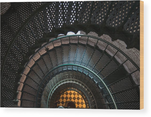 Lighthouse Wood Print featuring the photograph Looking Down by Stacy Abbott