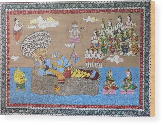 Mythology Wood Print featuring the painting Lord Vishnu In Ananta Sayan Posture by Prasida Yerra