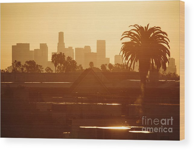 Los Angeles Wood Print featuring the photograph Los Angeles Morning by Konstantin Sutyagin