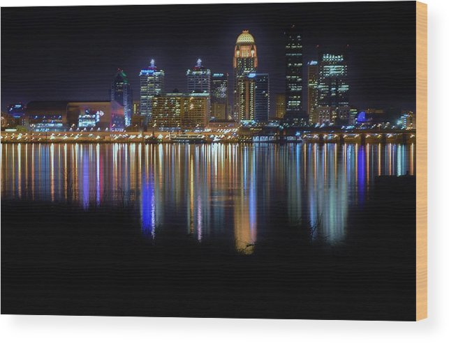 Landscape Wood Print featuring the photograph Louisville Kentucky Skyline by Nicholas Hall