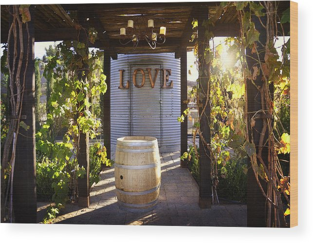 Love Wood Print featuring the photograph Love In The Vines by Amy Medina