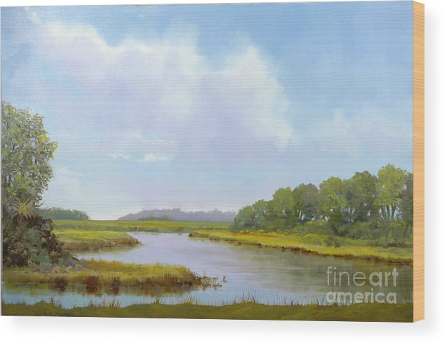 St. Simons Wood Print featuring the painting Lowcountry Afternoon by Glenn Secrest