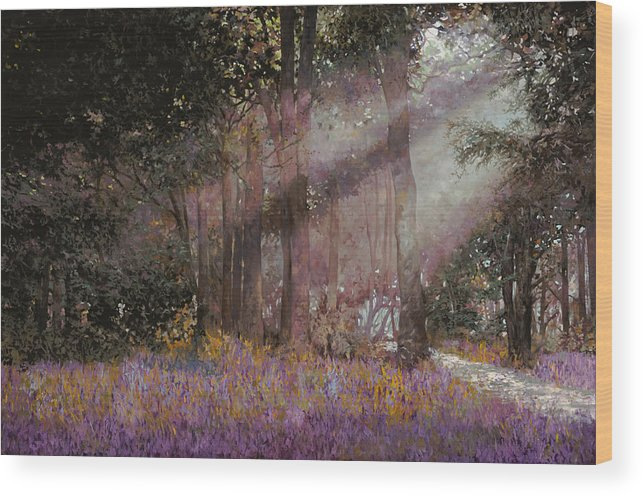 Wood Wood Print featuring the painting Luci by Guido Borelli