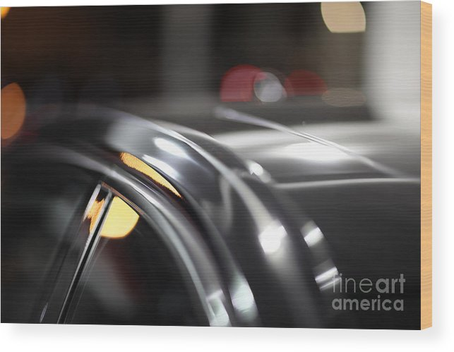 Blur Wood Print featuring the photograph Luxury Black Car Blur Bokeh by Konstantin Sutyagin